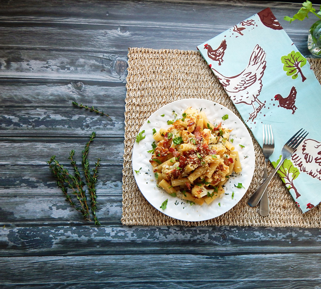 Pasta with Caulifower, Bacon and Breadcrumbs for Two
