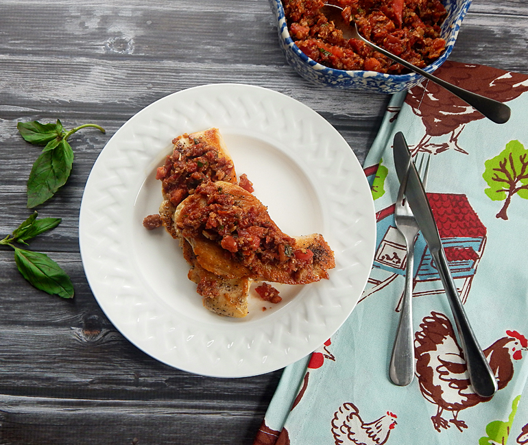 Chicken Cutlet with Sun-Dried Tomato Sauce