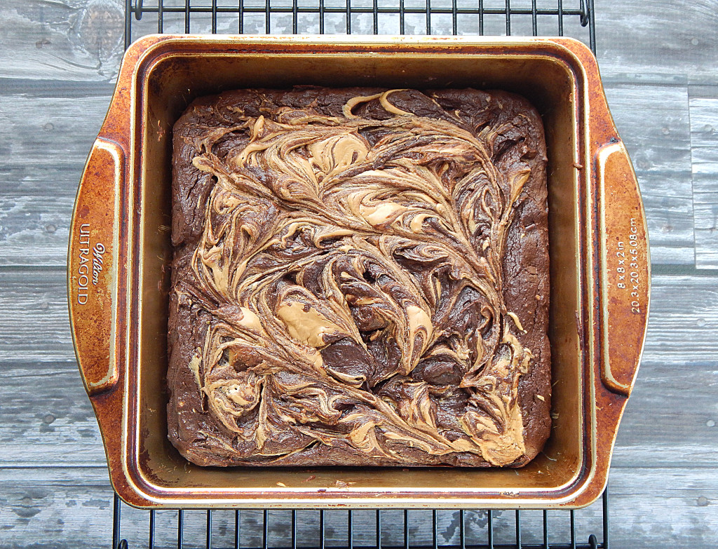 Avocado Brownies with Peanut Butter Swirl